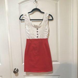 Alythea Cream and Orange Red Summer Dress